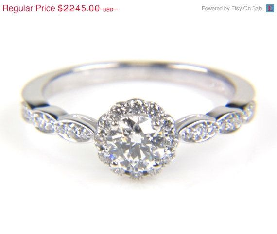 SALE Round Halo Engagement Ring  Wedding Ring  Round by bskdesigns, $1796.00