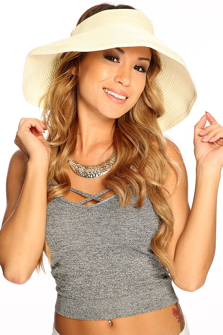 White Open Top Bow Accent Detailed Straw Design Visor ...