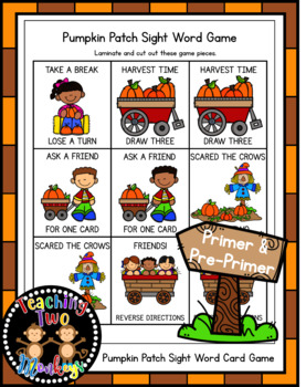 Autumn/Fall Pumpkin Patch Sight Word Card Game DOLCH PRE