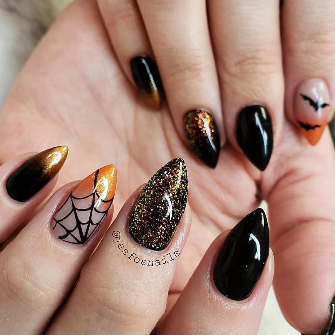 Halloween Spider Glitter Nails Hand Painted Gel Nails Nail Art Halloween Nail Designs Coffin Shape Nails Gel Nail Designs
