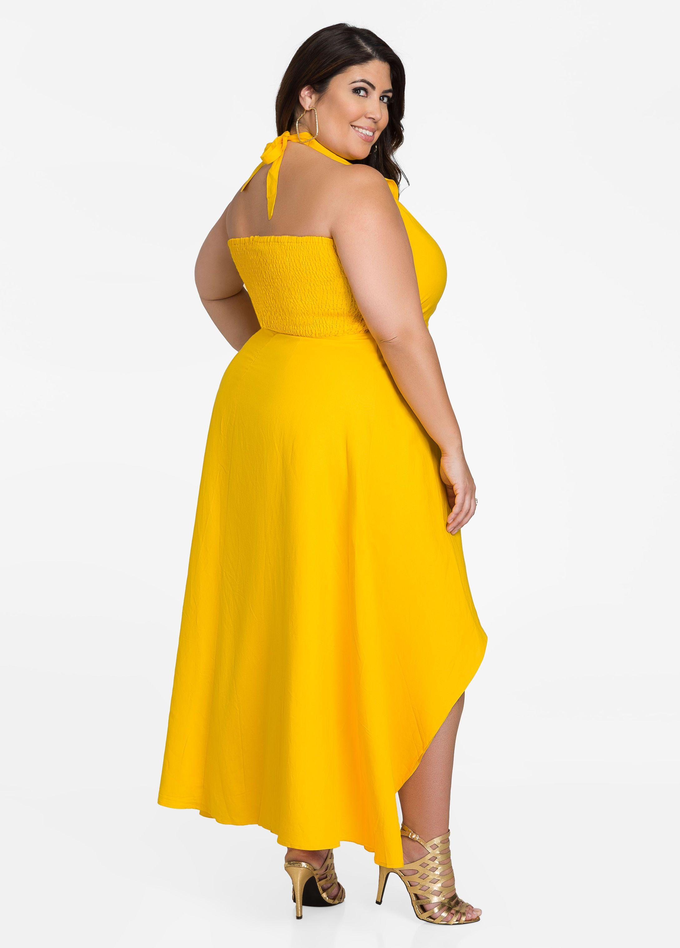 bf83dfdee8e1c Ruffle Top Hi-Lo Halter Maxi Dress - Ashley Stewart