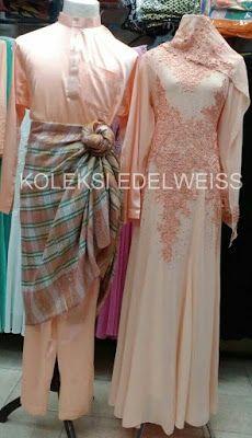 Set Baju Pengantin Warna Soft Peach Gaun Pengantin Muslimah