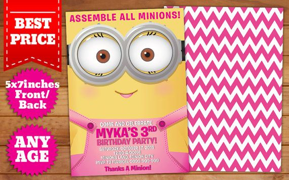 This instant downloadable is for a girl minions birthday invitation this instant downloadable is for a girl minions birthday invitation template in photoshop psd stopboris Image collections