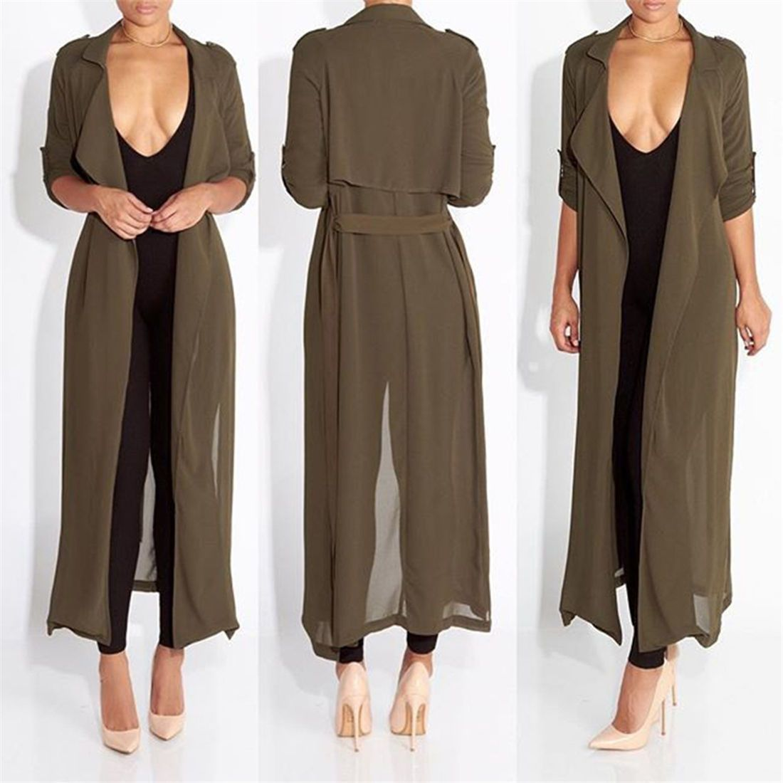 Stylish Women Chiffon Long Sleeve Long Cardigan Outwear Evening ...