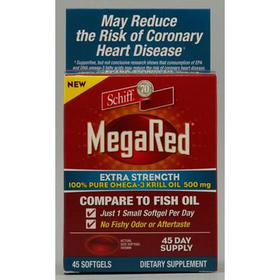 Schiff MegaRed Extra Strength Omega 3 - 500 mg - 45 Softgels   Retail Price: $46.69 You save: 19% Our Price: $37.99 Schiff MegaRed Extra Strength Omega 3 Description:     100% PURE OMEGA-3 KRILL OIL 500 mg     No Fishy Odor or Aftertaste         With Phospholipid Omega-3's For FAST ABSORPTION     May Reduce the Risk of Coronary Heart Disease: Supportive research shows that consumption of EPA and DHA omega-3 fatty acids may reduce the risk of coronary heart disease.