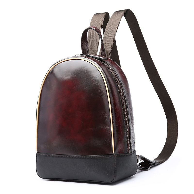 TERSE factory price fashion handmade genuine leather backpack breathable  mini women men bag luxury coffee color dropshipping c567bd01fa180