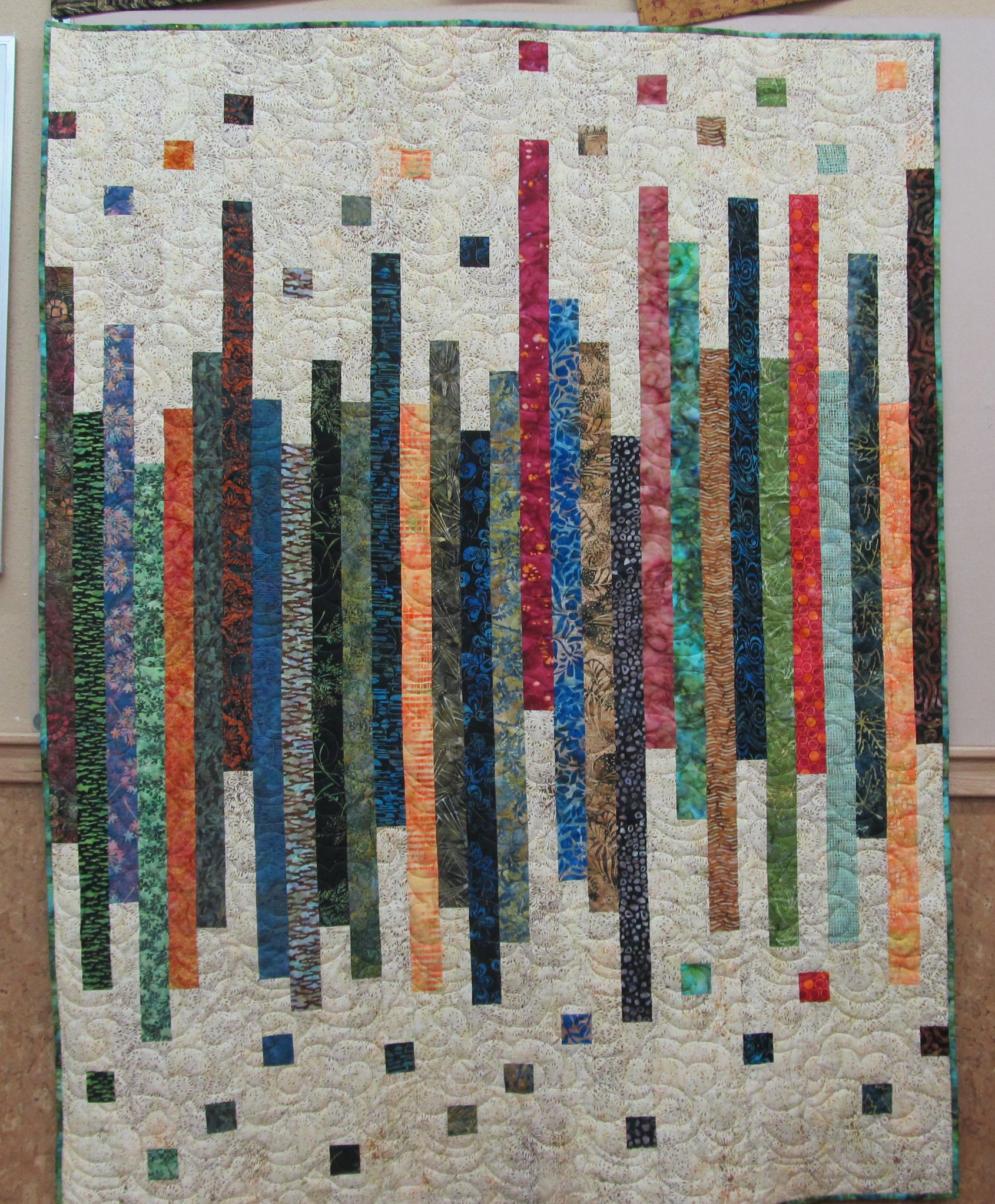 Strip Quilt Done With Batik Fabrics.