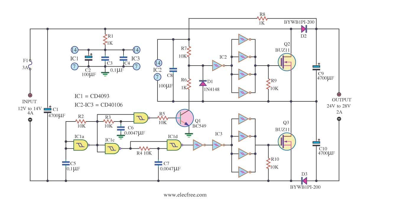 Dcdc converter dc12v to 24v 2a by ic 40106 and mosfet buz11 this circuit is under circuits dc dc converter to by ic 40106 and mosfet this is circuit dc to dc converter for input to output use easy circuit simple ccuart Image collections