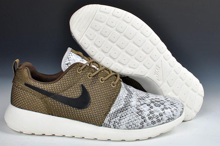 Nike Roshe Run Snakeskin Tarp Green White #esty shoes