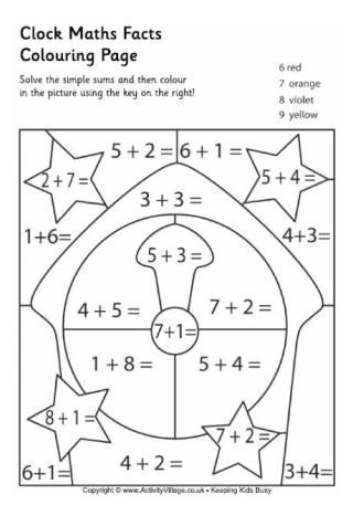 Clock Maths Facts Colouring Page | Math facts, Math ...