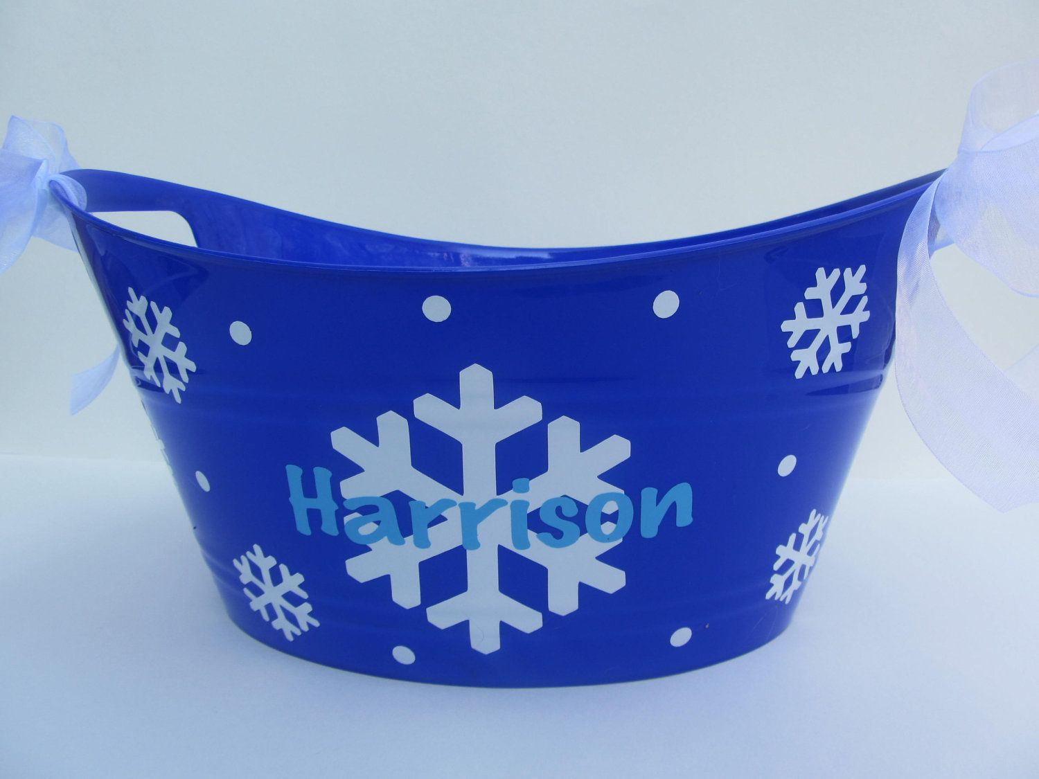 Christmas or Holiday gift tub - Personalized oval toy, gift or ...