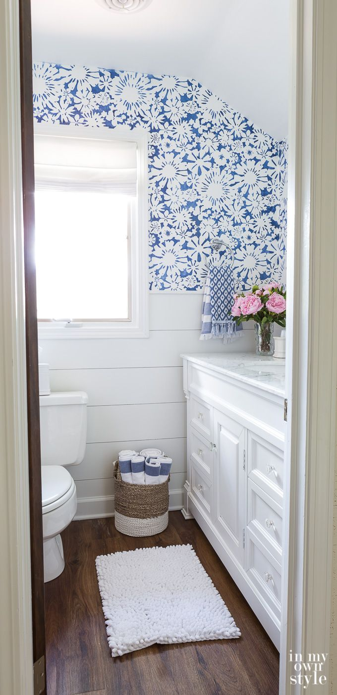 Create Faux Wallpaper Using Paint and a Stencil Bathroom