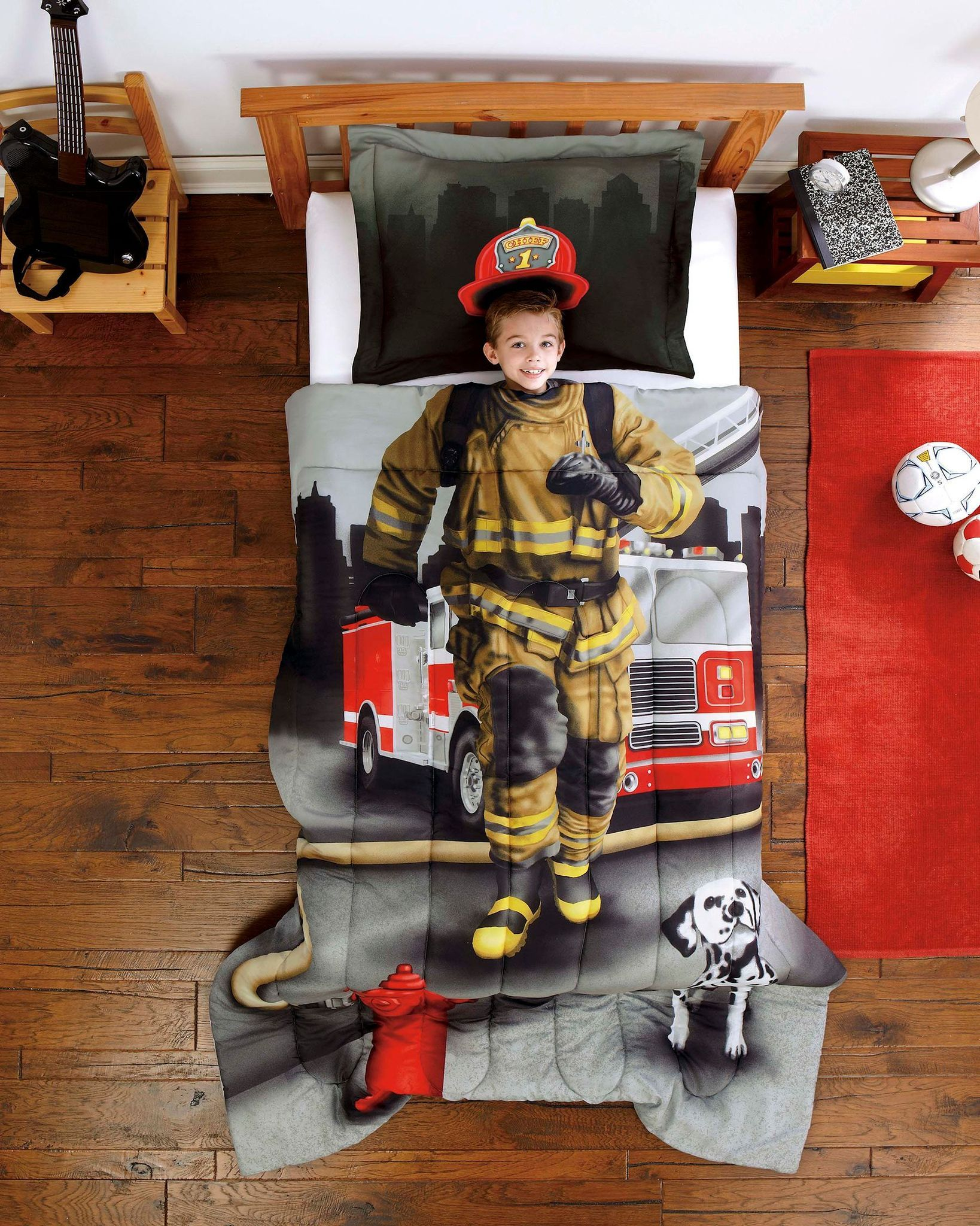 Fireman Bedding Set With Images Firefighter Room Kids