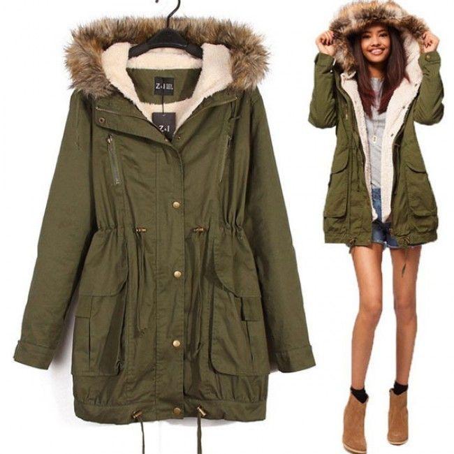 2017 womens winter wool parka fur collar jacket wool belt coat outwear trench