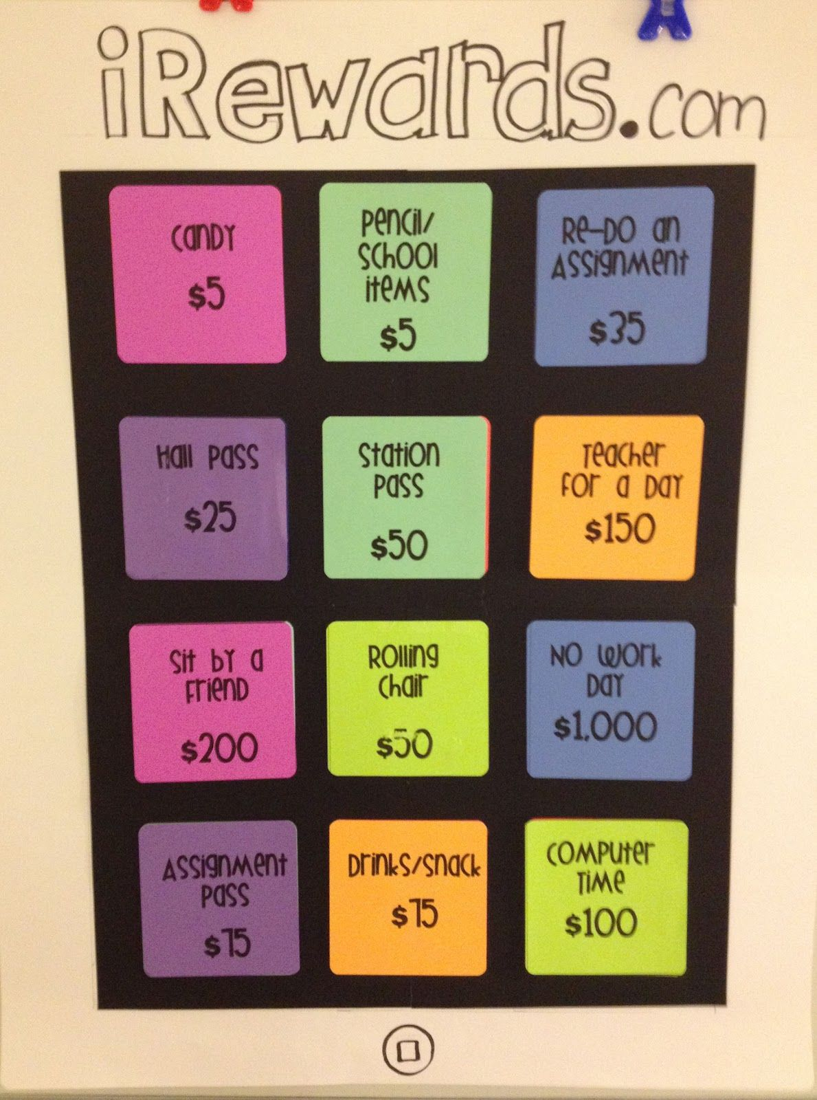 This reward chart is a token earning system. Students earn class ...