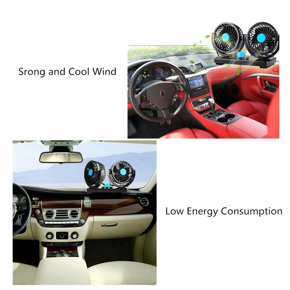 12v Fan Cooling Air Fan Powerful Dashboard Electric Car Fan Low Noise 360 Degree Rotatable With 2 Speed Adjustable F Car Accessories Electric Car Cool Air Fans