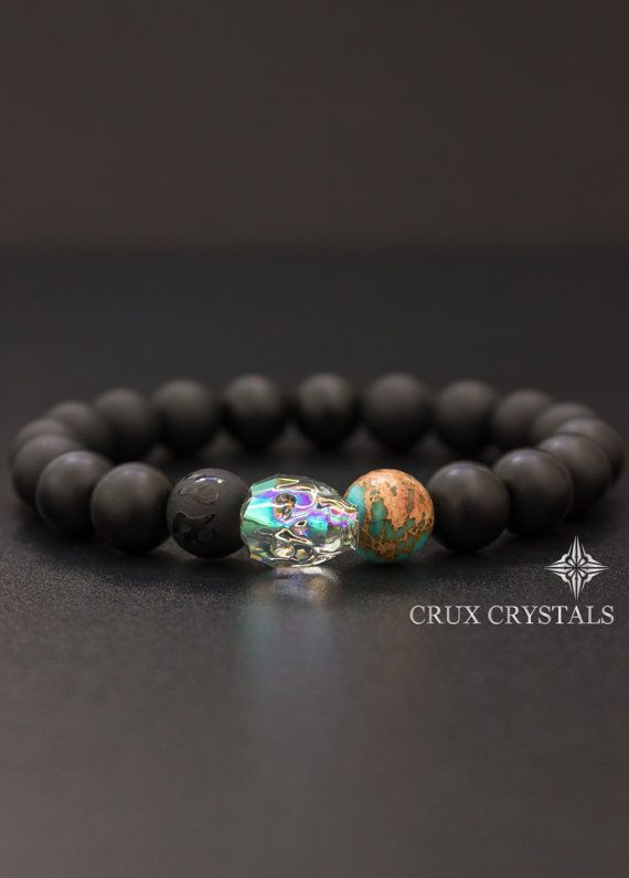 Herren Swarovski Crystal Skull Armband Crux Von Cruxcrystals Pulseras De Joyeria Joyeria Masculina Collar De Cuarzo