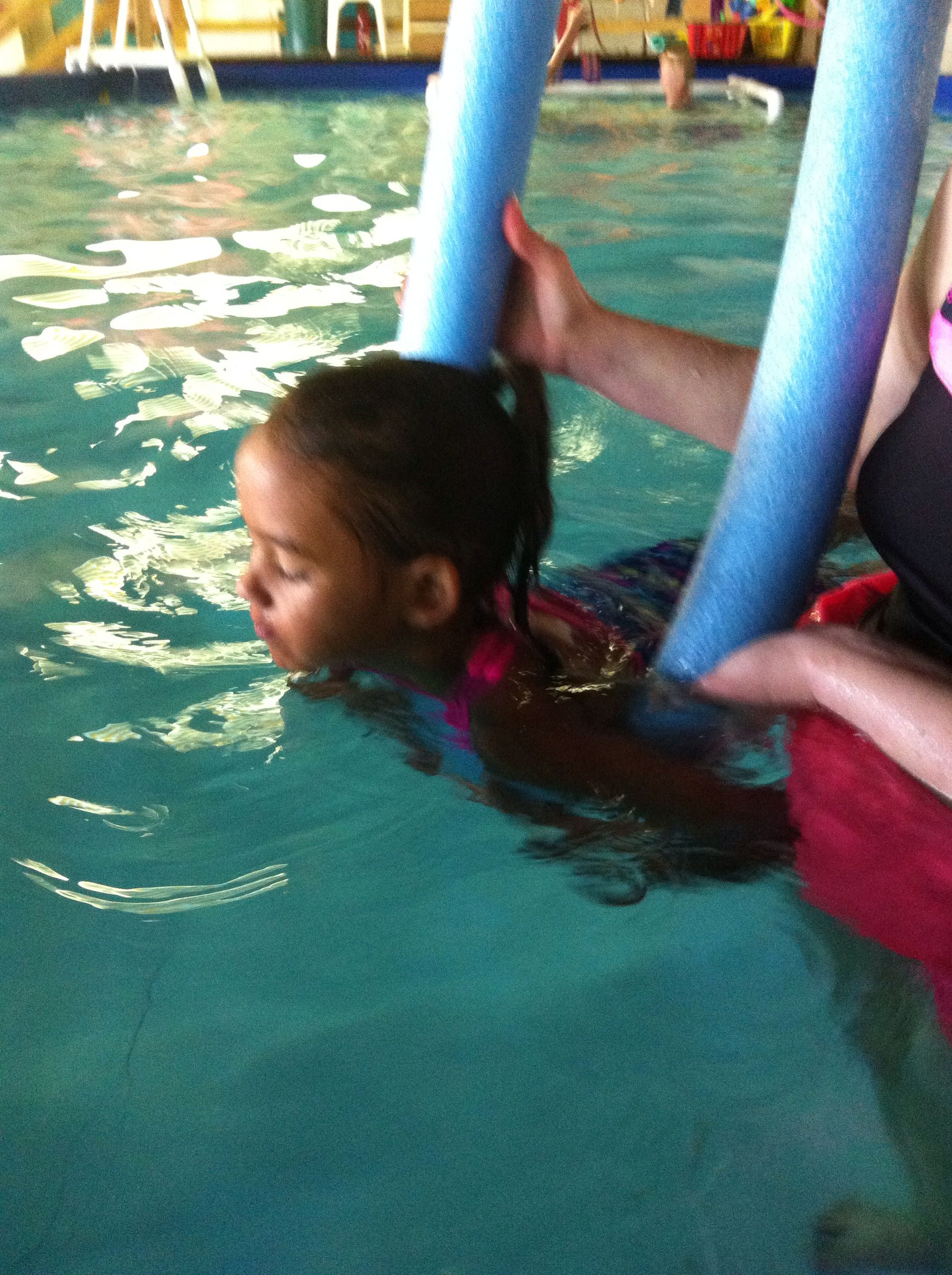 Comfort and encouraging words helps any child to learn to swim! We offer seven levels of swimming. Beg through adv.