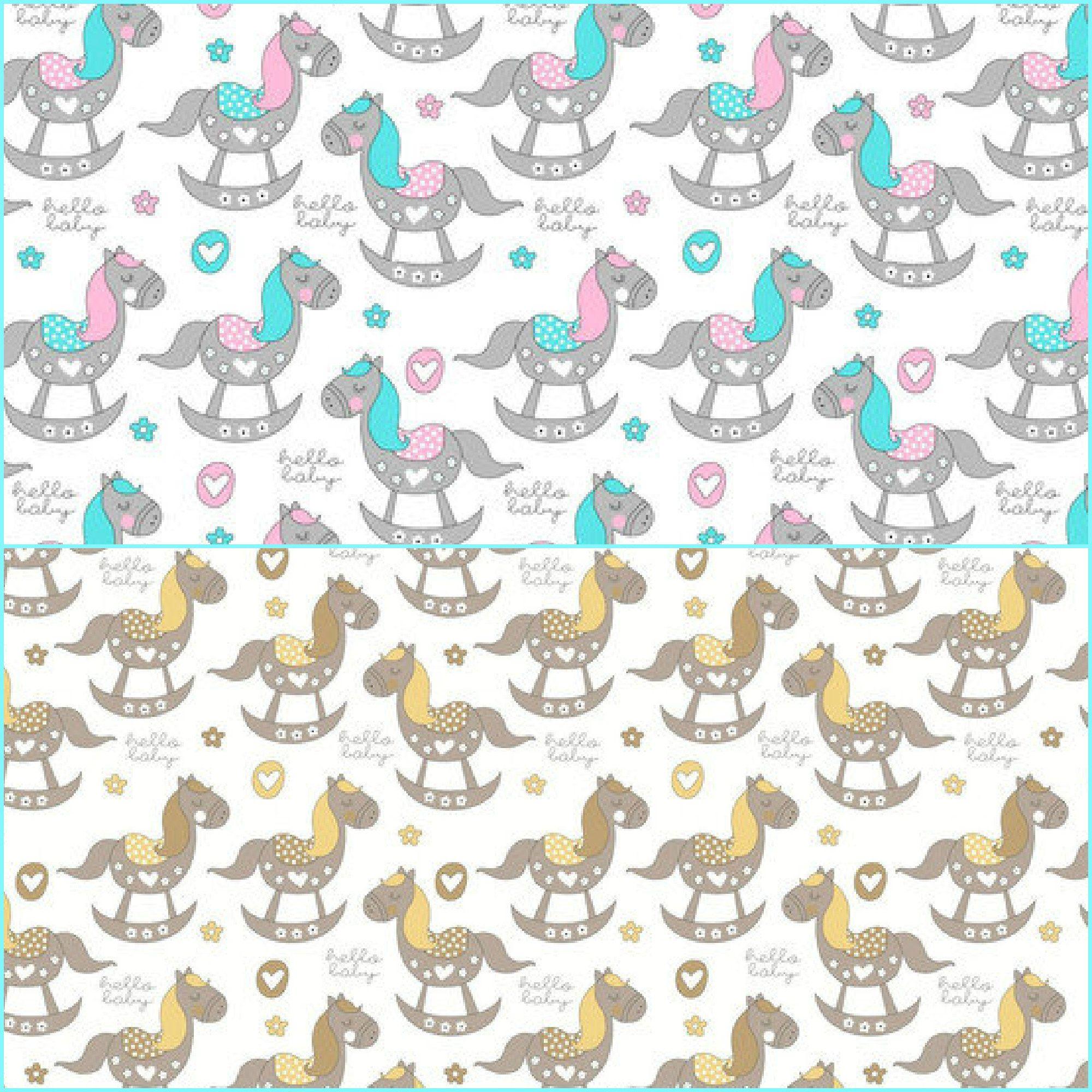 Horse Cotton Fabric By The Yard Little Pony Baby Nursery Newborn Tissue Bedding