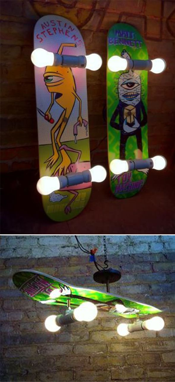 Skateboards Turned Into Light Fittings