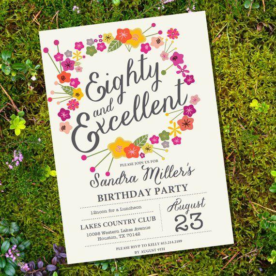 Floral Eightieth Birthday Invitation