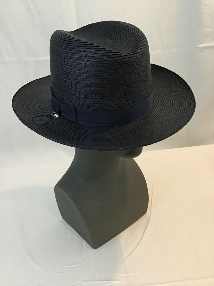 73ba853a Stratton Navy Straw Police Sheriff State Trooper Casual Double Brim Hat SZ 7  1/2