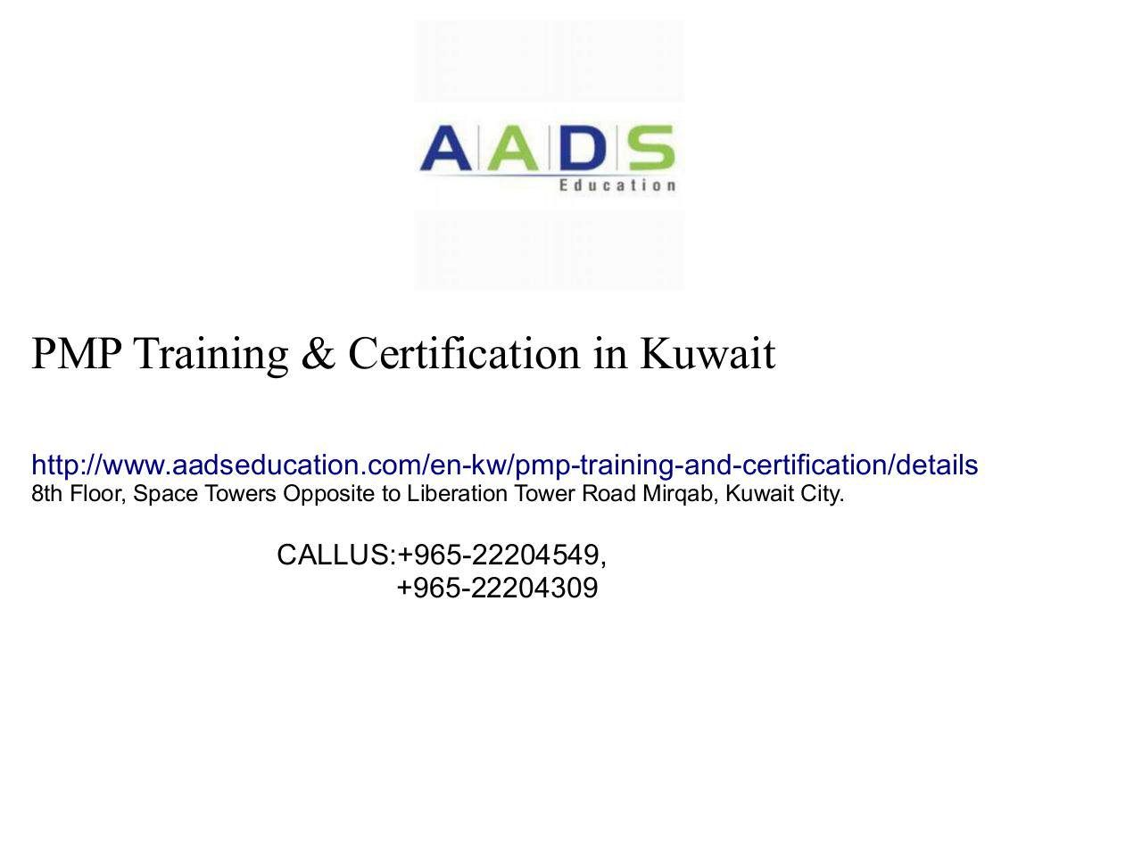 Pmp Certification Training In Kuwait Aads Education Published By