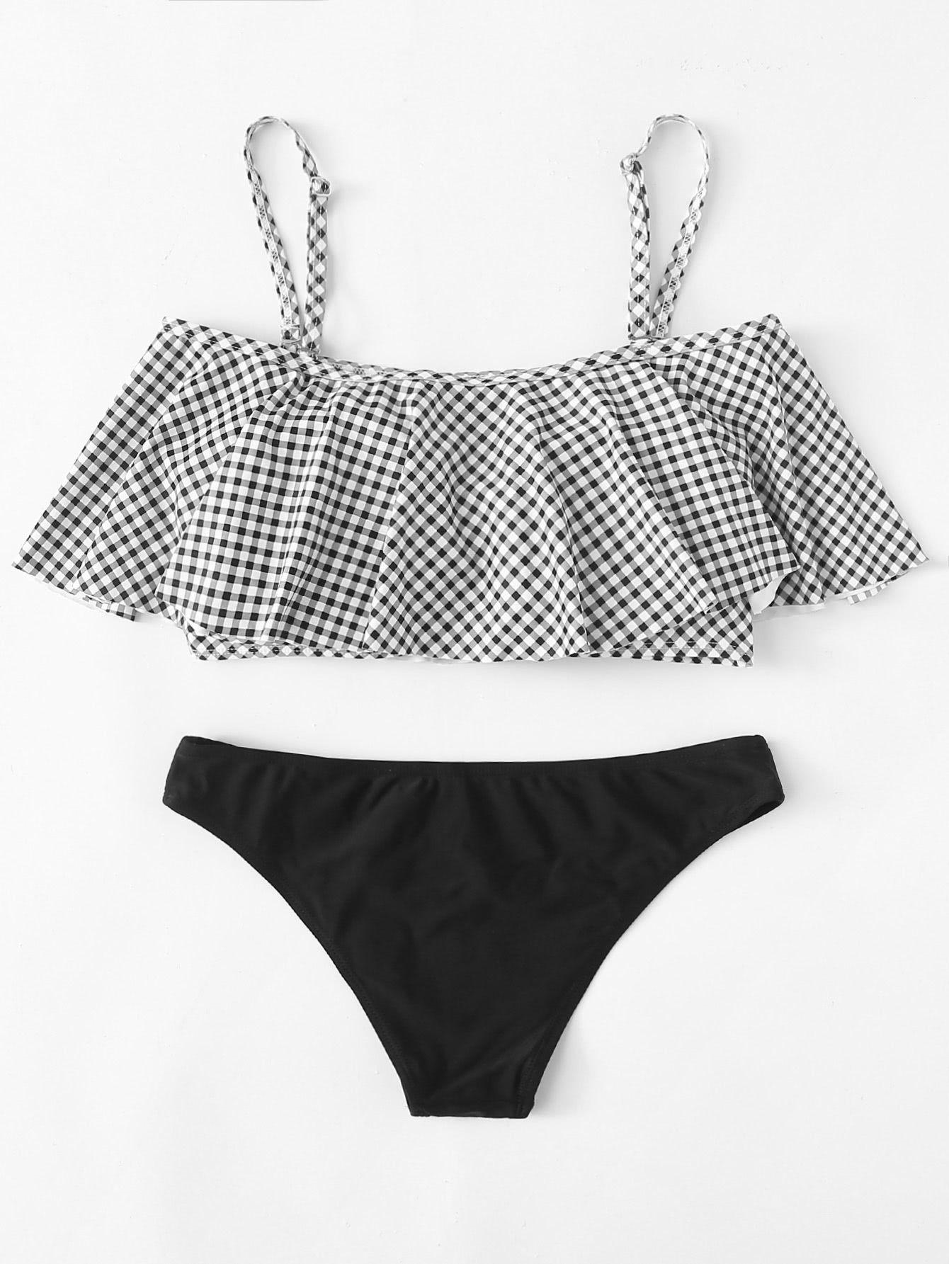 3f37b7f61d Flounce Embellished Gingham Bikini Set -SheIn(Sheinside) | Swim in ...