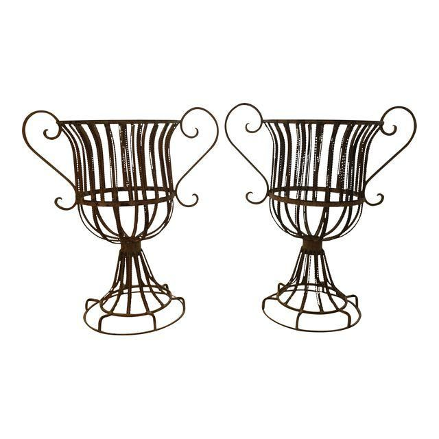 Image of French Wire Medici-Style Garden Urns - a Pair