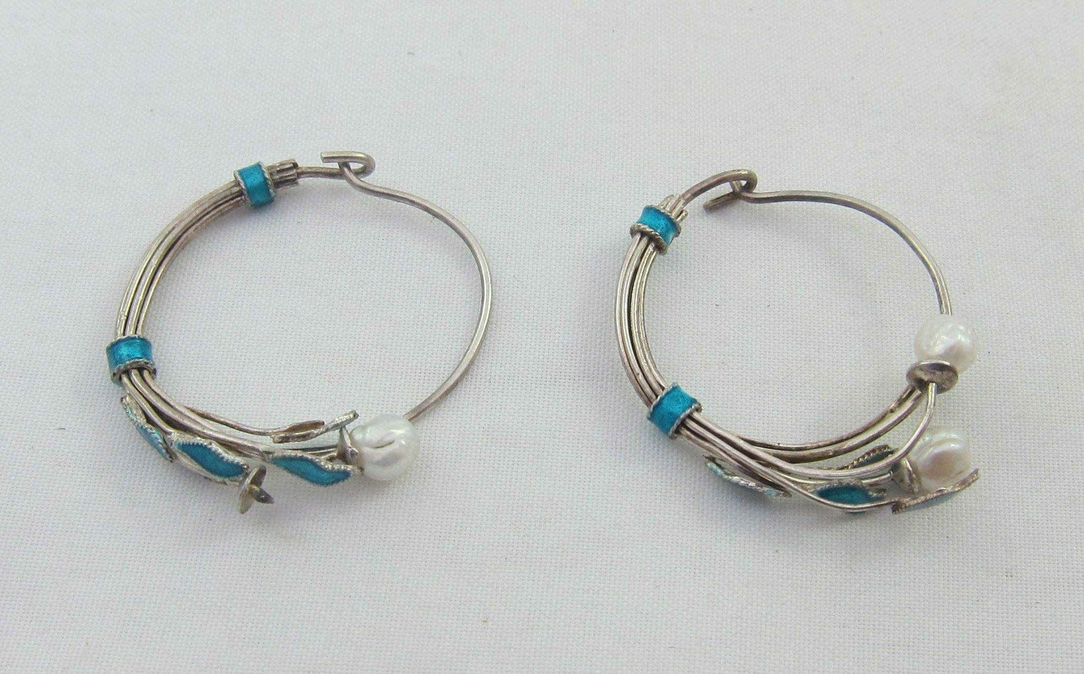 124ecf41f Delicate Sterling Silver Blue Enamel Cultured Pearls Floral Hoop Earrings -  as it is by Framarines on Etsy