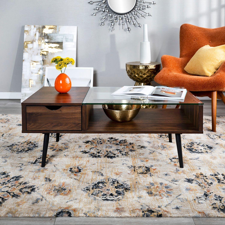 42 Mid Century Modern Dark Walnut Wood Glass Coffee Table Coffee Table Mid Century Modern Coffee Table Coffee Table Arrangements [ 1500 x 1500 Pixel ]