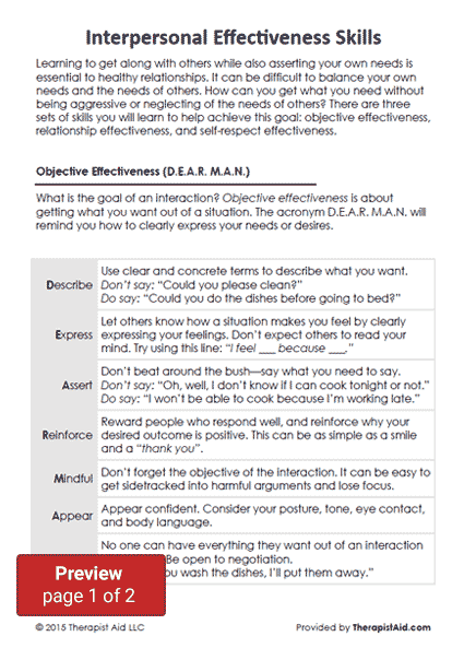Dbt Interpersonal Effectiveness Skills Worksheet Therapist Aid Interpersonal Effectiveness Dbt Skills Worksheets Dbt Skills Activities