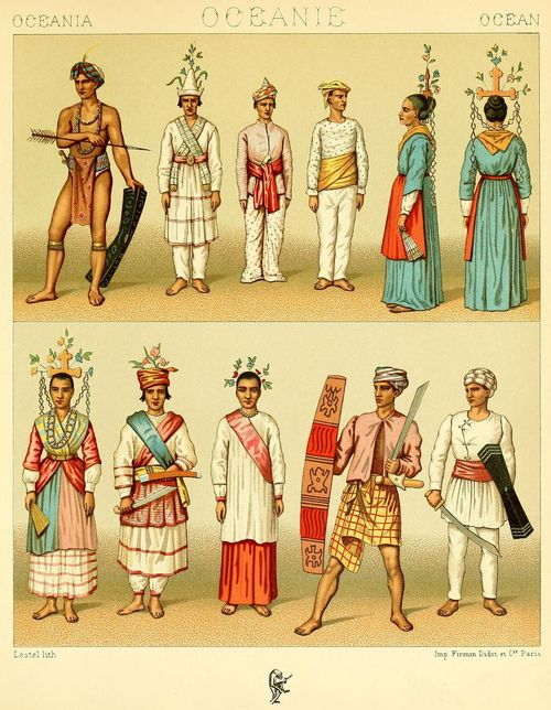 Old Malaysia Micronesia Melanesia And Polynesia Drawings From Le Costume Historique Vol 2 By Auguste Racinet 1888 Sejarah Seni Budaya