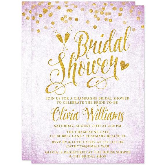 Lavender Gold Confetti Bridal Shower Invitations Printed Purple And
