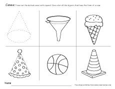 Solid shapes, 3D-forms and shapes for children. Free cone ...