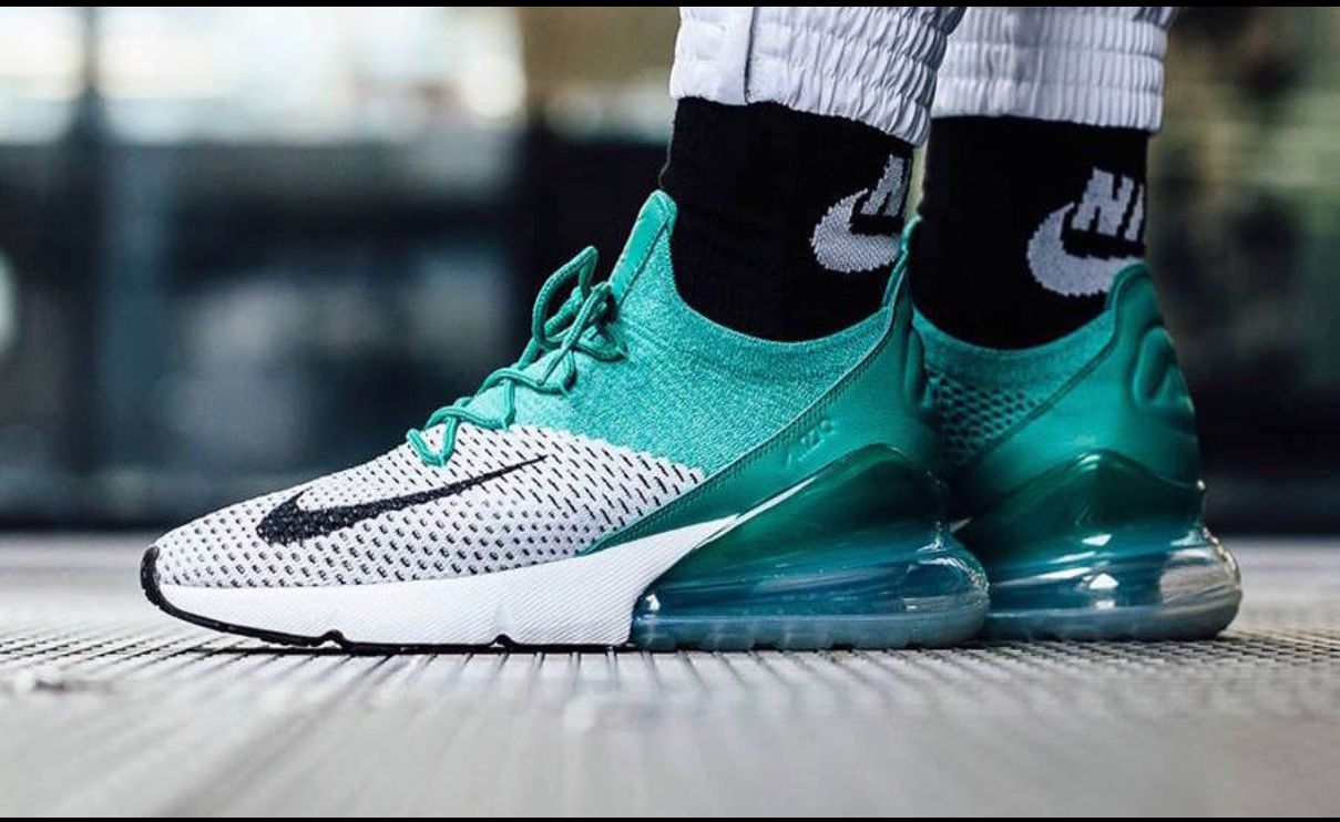 sneakers for cheap a4084 d0823 Womens Nike Air Max 270 Flyknit - EmeraldWhite H6803300 Nike AirMax  NikeAirMax Champs ChampsCoupons Training Fitness FittnessStyle ...