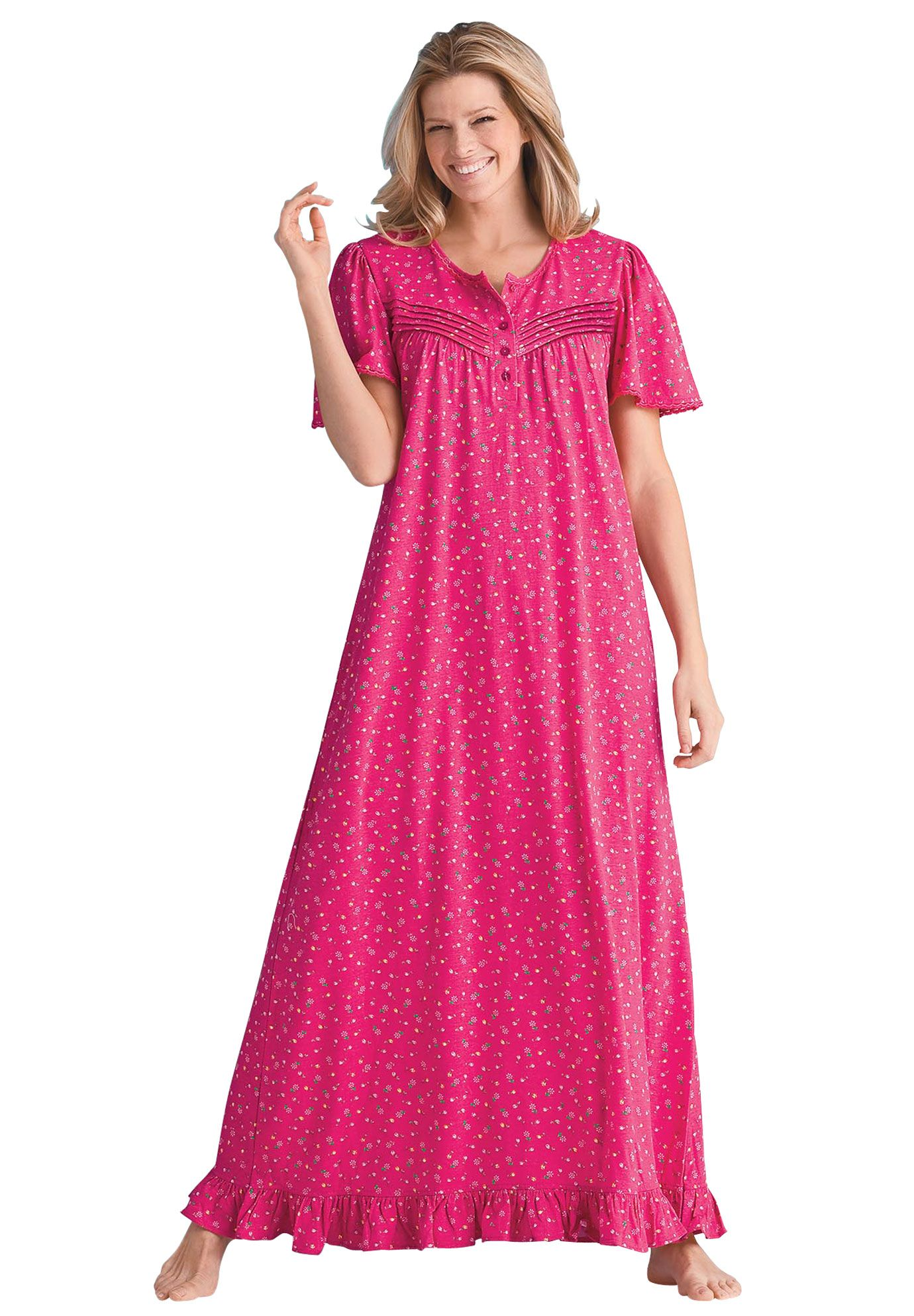 Long Cotton Knit Gown By Dreams Co Plus Size Sleep Gowns