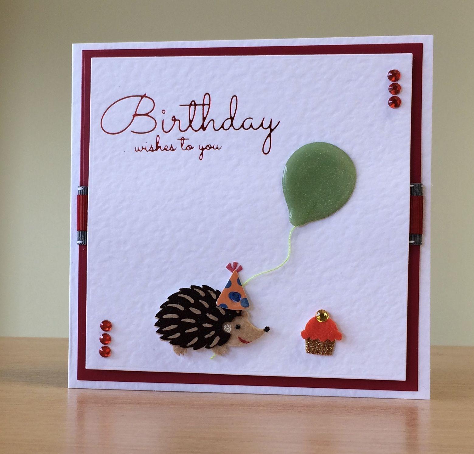 Birthday Card Handmade Jolee S Boutique Hedgehog Embellishment