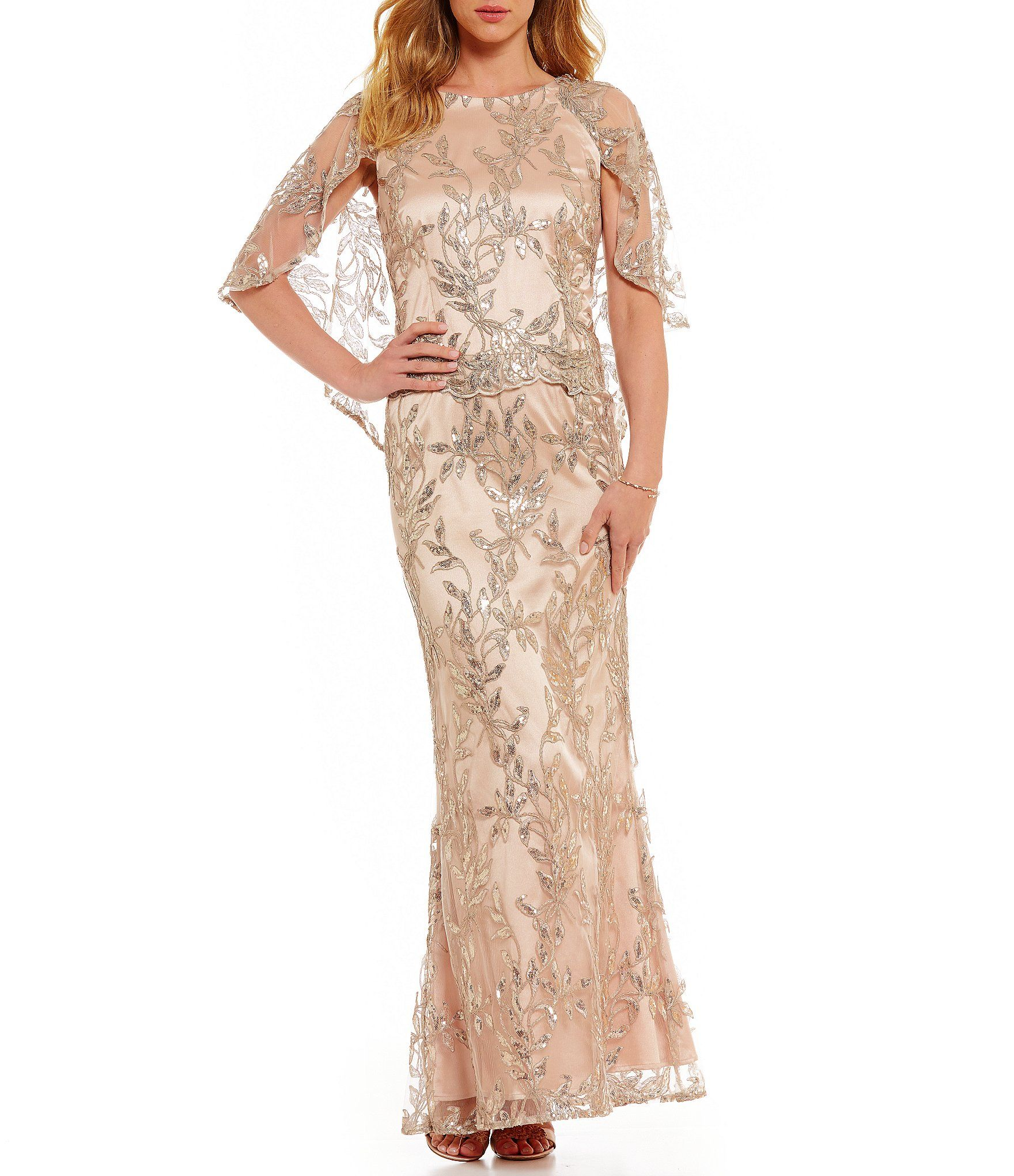 5614bd2e6d Shop for Brianna Embroidered Capelet Mesh Gown at Dillards.com. Visit  Dillards.com to find clothing