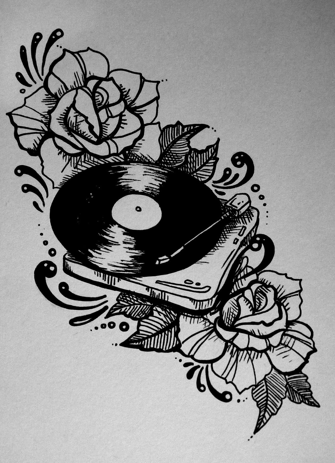 record player, roses, traditional tattoo style illustration