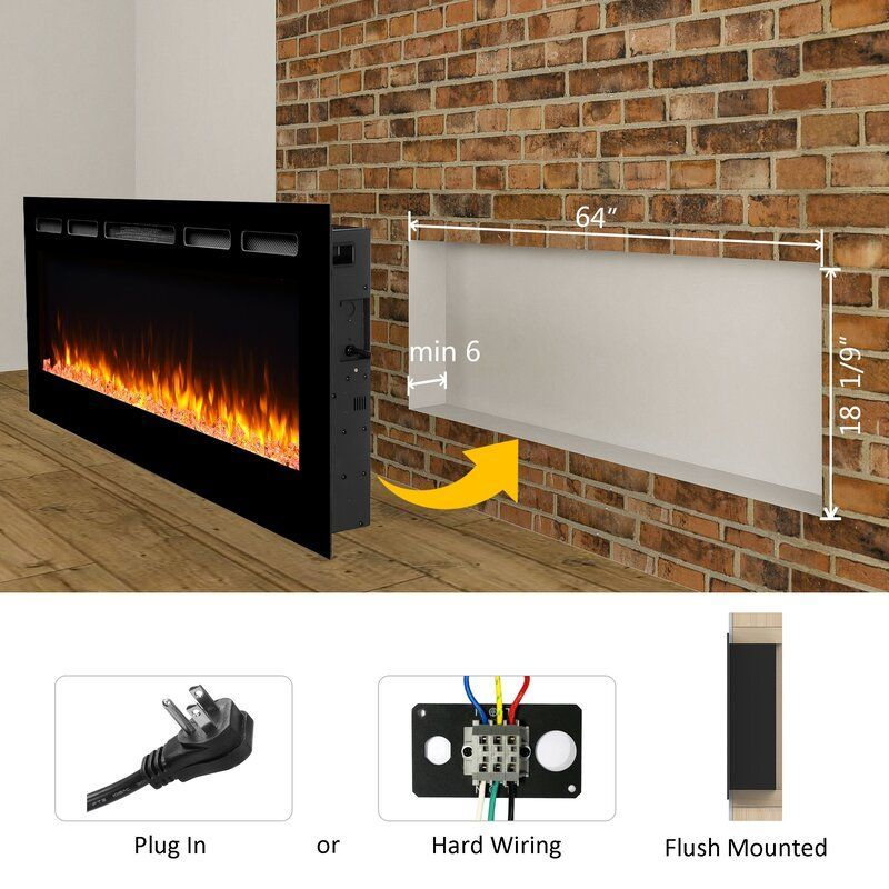 Callan Recessed Wall Mounted Electric Fireplace Em 2020