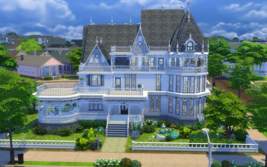 Sims 4 house maison victorienne victorian building construction sims sims 4 houses sims - Maison victorienne ...