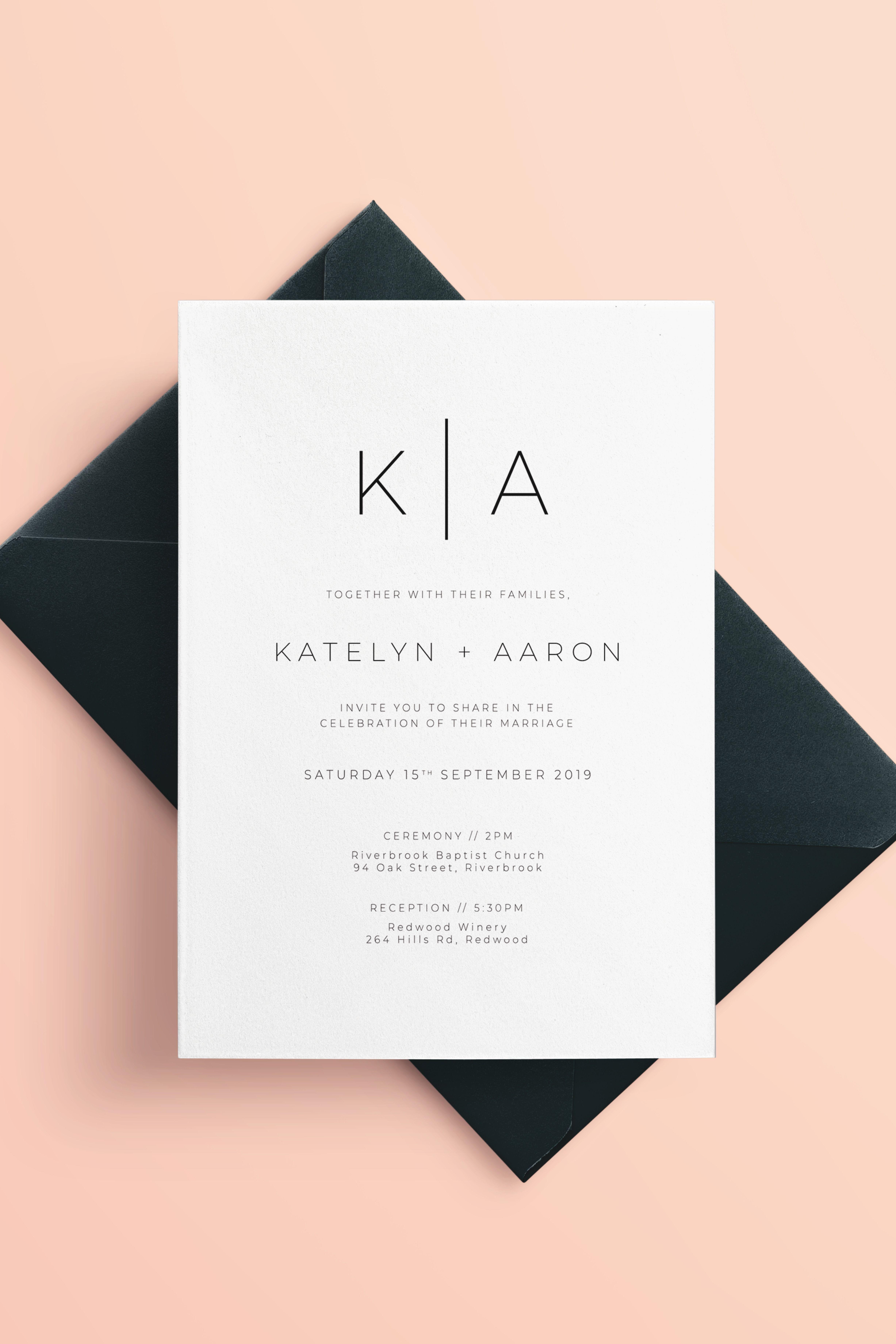 Modern Minimalist Wedding Invitations | Minimalist wedding invitations,  Minimalist wedding invitation modern, Etsy wedding invitations