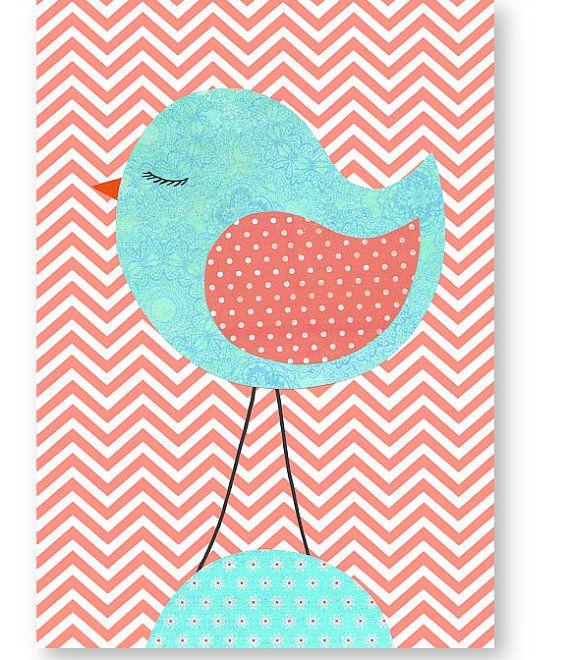 Vogel Kinderzimmer   Aqua Und Korallen Vogel Kinderzimmer Wand Kunst Chevron Kinder Decor