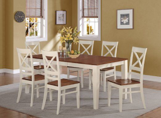 7 Pc Quincy Rectangular Dining Table And 6 Wood Seat Chairs Butterm Solid Wood Dining Set Dining Room Table Centerpieces Kitchen Table Centerpiece