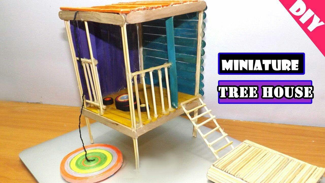 diy miniature treehouse | popsicle stick craft | popsicle stick