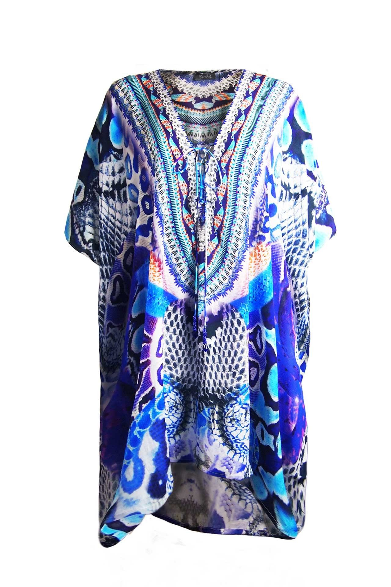 Shahida kaftan dress tunics dress in blue python print in