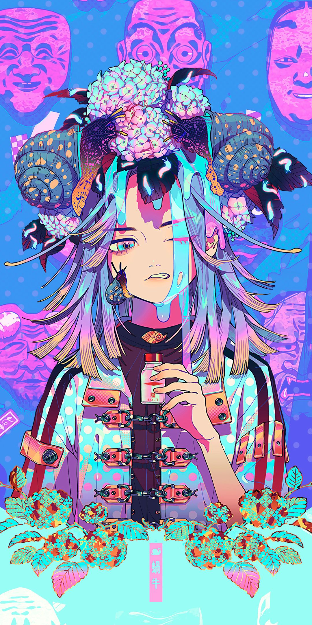 1080x2160 Anime Masks Glitch Art Aki Akane Art Wallpaper Anime Art Manga Art Kawaii Art