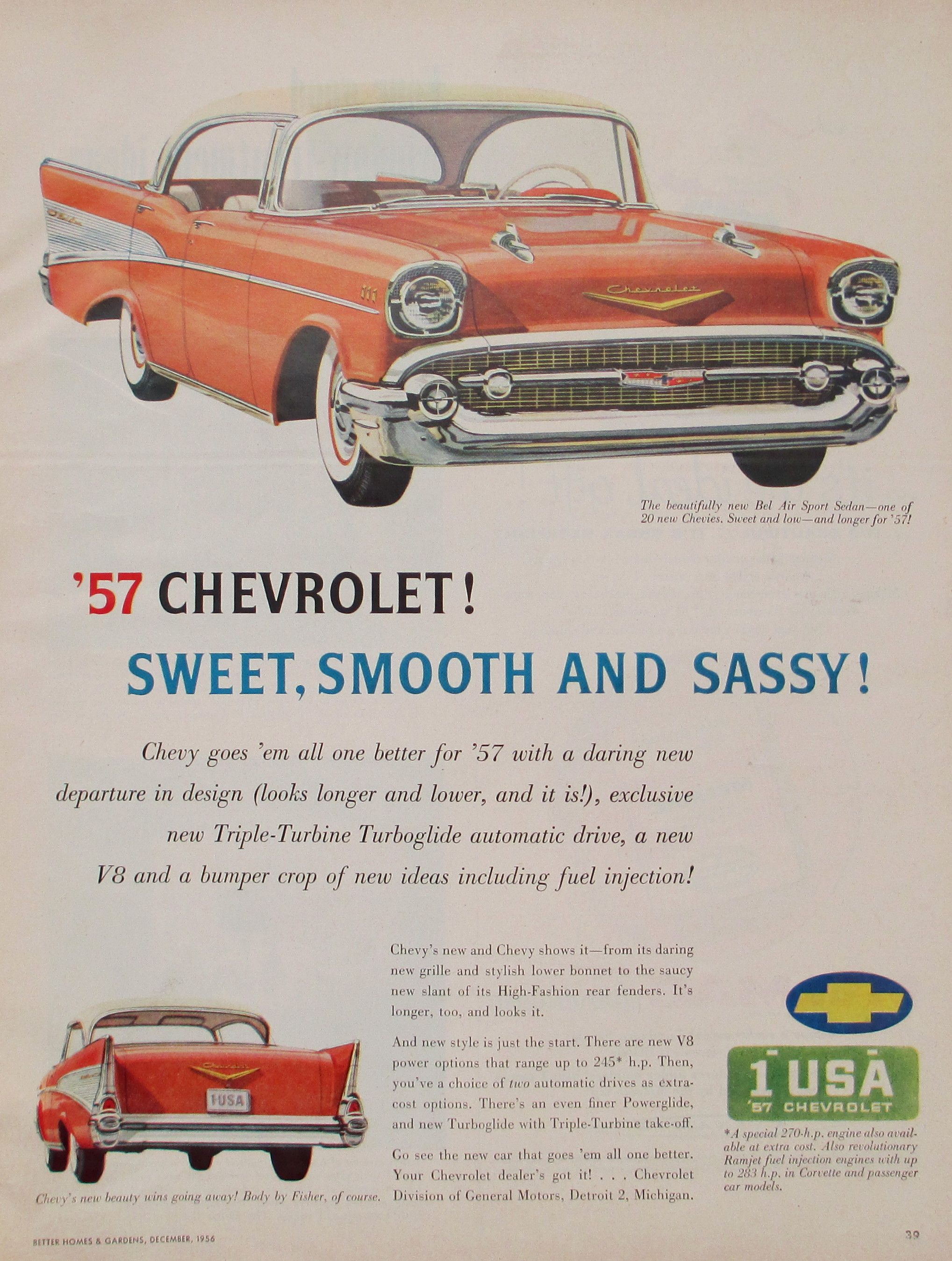 '57 Chevrolet advertisement: Sweet, Smooth and Sassy! My family had this  model