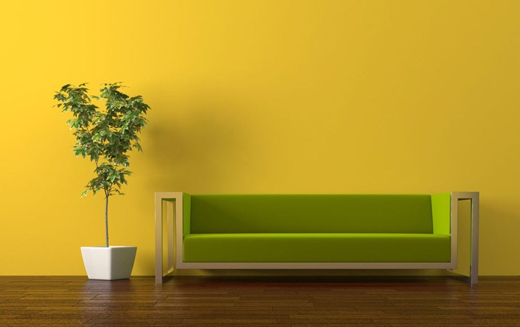 Wall color idea - Living Room : Rendering Green Sofa Yellow Wall ...